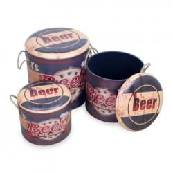 SET 3 CAJAS RETRO BEER 42 CM.