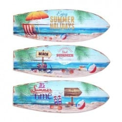 SET 3 ADORNOS PARED TABLA SURF 20X60 CM.
