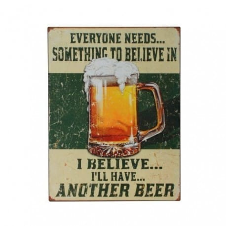 PLACA PARED BEER 33X25 CM.