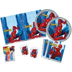 SET CUBIERTOS DESECHABLES SPIDERMAN ( 10 PLATOS, 10 VASOS, 10 SERVILLETAS Y 1 MANTEL)