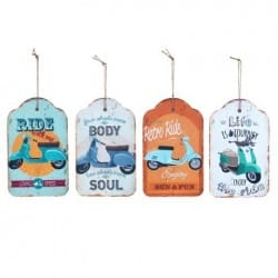 SET 4 PLACAS PARED VESPA RETRO