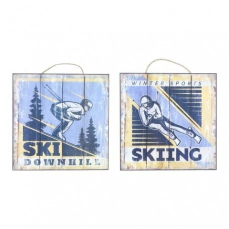 SET 2 PLACAS PARED SKIING 25X25 CM.