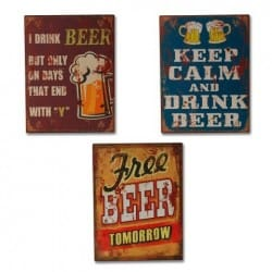SET 3 PLACAS PARED CERVEZA 33X25 CM.