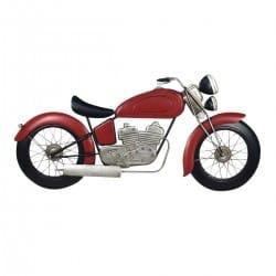 ADORNO PARED MOTOCICLETA ROJA METAL RETRO 100X3X47 CM.