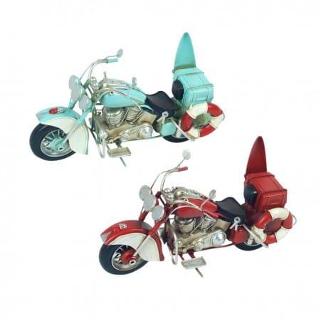 SET 2 FIGURAS MOTOCICLETA RETRO METAL 27.50X10X16 CM.