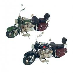 SET 2 FIGURAS MOTOCICLETA RETRO METAL 26X10X16 CM.