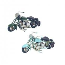 SET 2 FIGURAS MOTOCICLETA RETRO METAL 11X4.5X5.5 CM.