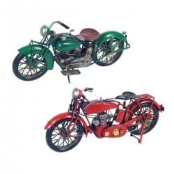 SET 2 FIGURAS MOTOCICLETA RETRO METAL 30X8X15 CM.