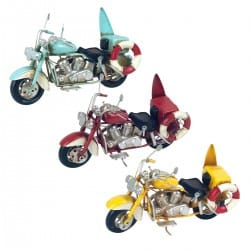 SET 3 FIGURAS MOTOCICLETA TABLA SURF RETRO METAL 19X7.5X12 CM.