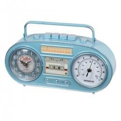 RELOJ SOBREMESA RADIO CASSETTE RETRO METAL 34X7.5X20 CM.