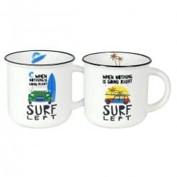 SET 2 MUGS SURF PORCELANA EN CAJA REGALO 12.50X10X9 CM.