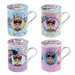 SET 4 MUGS FRIDA CON FILTRO PORCELANA 11X8X11 CM.
