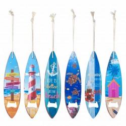 SET 6 DESTAPADORES CERVEZA TABLA SURF METAL 4.5X0.1X18.50 CM.